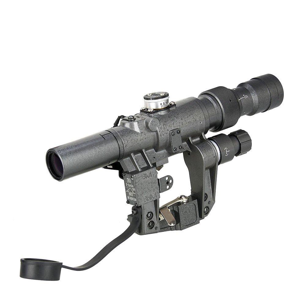 CANIS LATRAN製 SVD ドラグノフ AK スコープ 3-9X24 倍率3-9倍 変動倍率 グレー 灰色