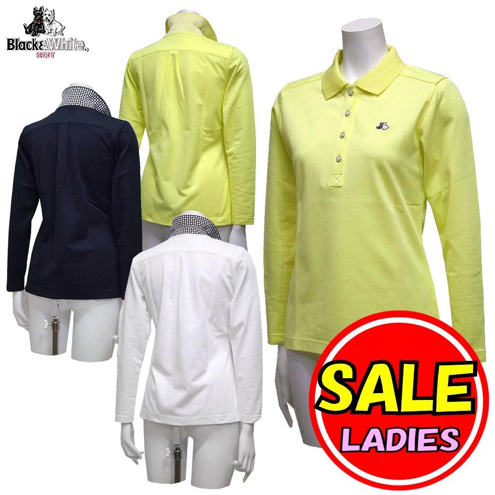 【50%OFF!セール】ブラック&ホワイト / ブラック アンド ホワイト/春夏モデル!長袖ポロシャツ/快適ドライ(レディース)ゴルフウェア
