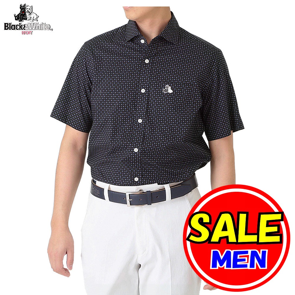 【40%OFF!セール】ブラック&ホワイト / ブラック アンド ホワイト(春夏モデル!)半袖シャツ/綿100%素材(メンズ)ゴルフウェア/レターパック選択可!