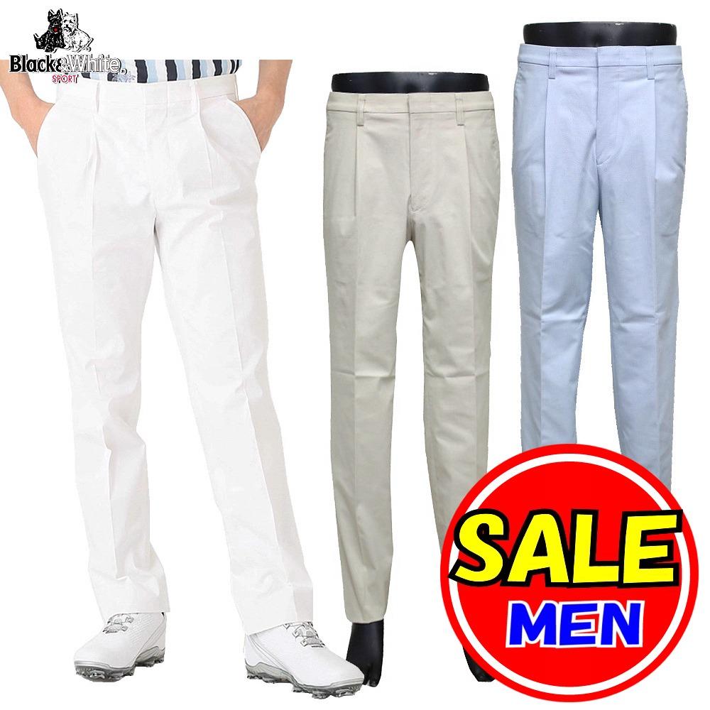 【50%OFF!セール】ブラック&ホワイト / ブラック アンド ホワイト 春夏モデル!ストレッチパンツ / ワンタックパンツ (メンズ)ゴルフウェア