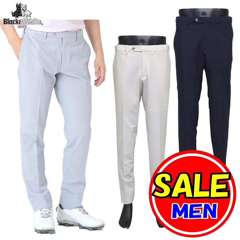 【50%OFF!セール】ブラック&ホワイト / ブラック アンド ホワイト 春夏モデル!ストレッチパンツ / ノータックパンツ (メンズ)ゴルフウェア