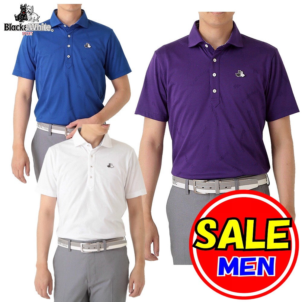 【50%OFF!セール】ブラック&ホワイト / ブラック アンド ホワイト 半袖 ポロシャツ / 吸水速乾(メンズ)ゴルフウェア/レターパック選択可!