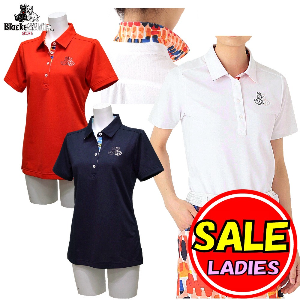 【50%OFF!セール】ブラック&ホワイト / ブラック アンド ホワイト/春夏モデル!半袖ポロシャツ/吸水速乾・UV(レディース)ゴルフウェア