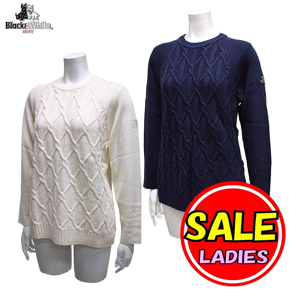 【50%OFF!セール】ブラック&ホワイト / ブラック アンド ホワイト/秋冬モデル!ケーブル編みセーター / クルーネックセーター(レディース)