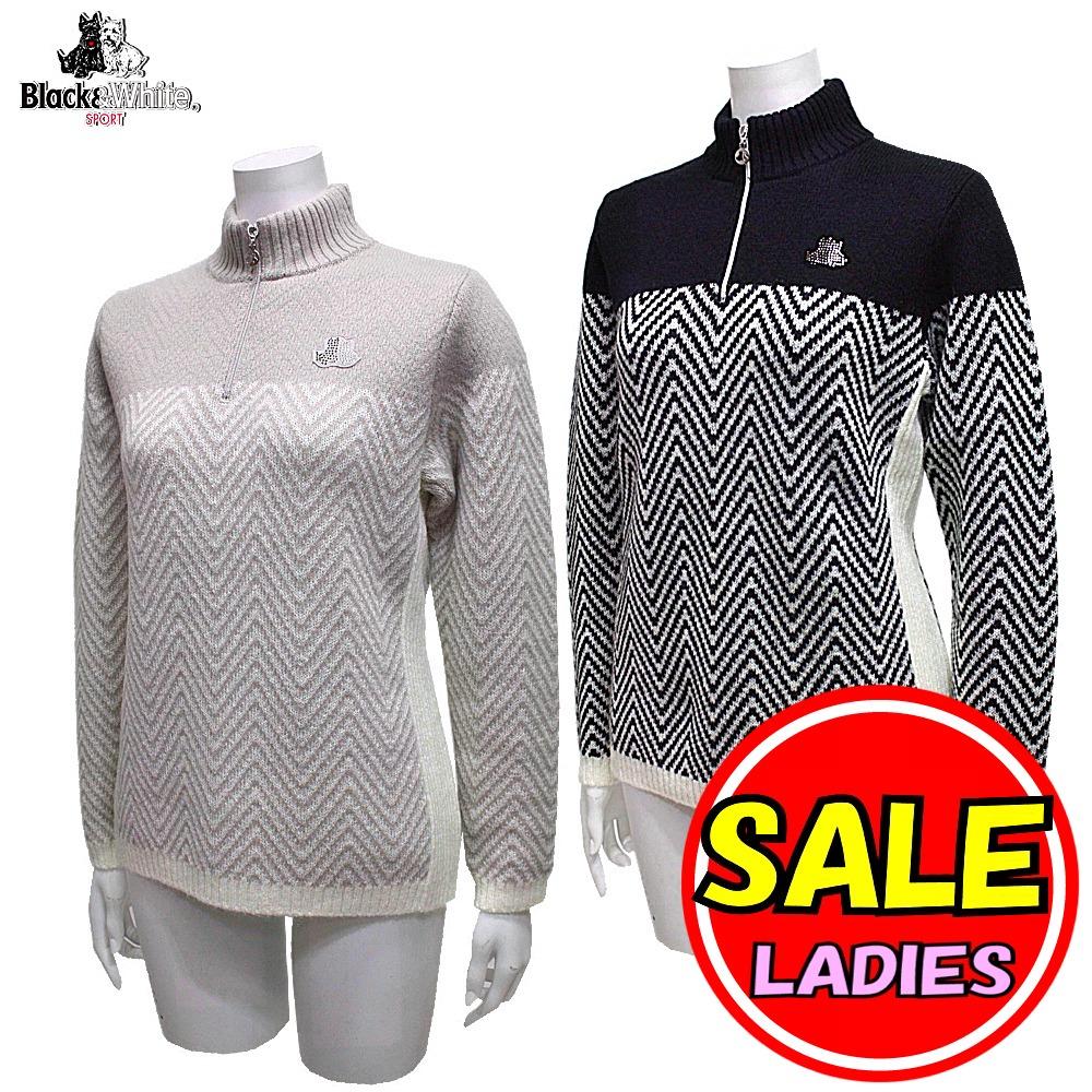 【50%OFF!セール】ブラック&ホワイト / ブラック アンド ホワイト/秋冬モデル!セーター / ジップハイネックセーター(レディース)ゴルフウェア