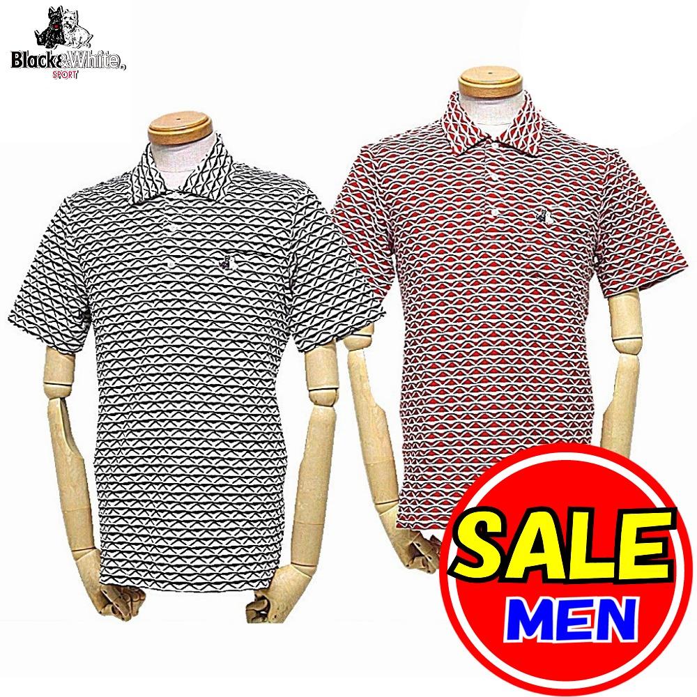 【50%OFF!セール】ブラック&ホワイト / ブラック アンド ホワイト/快適ドライ・UVカット/半袖ポロシャツ(メンズ)ゴルフウェア