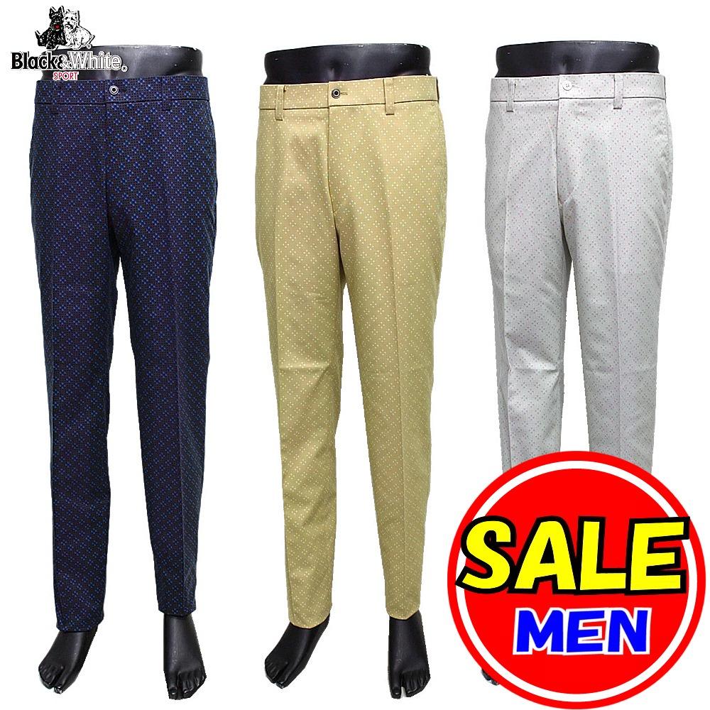 【50%OFF!セール】ブラック&ホワイト / Black&White / 秋冬モデル / パンツ/総柄 /ノータックパンツ (メンズ) ブラック&ホワイト / ゴルフウェア