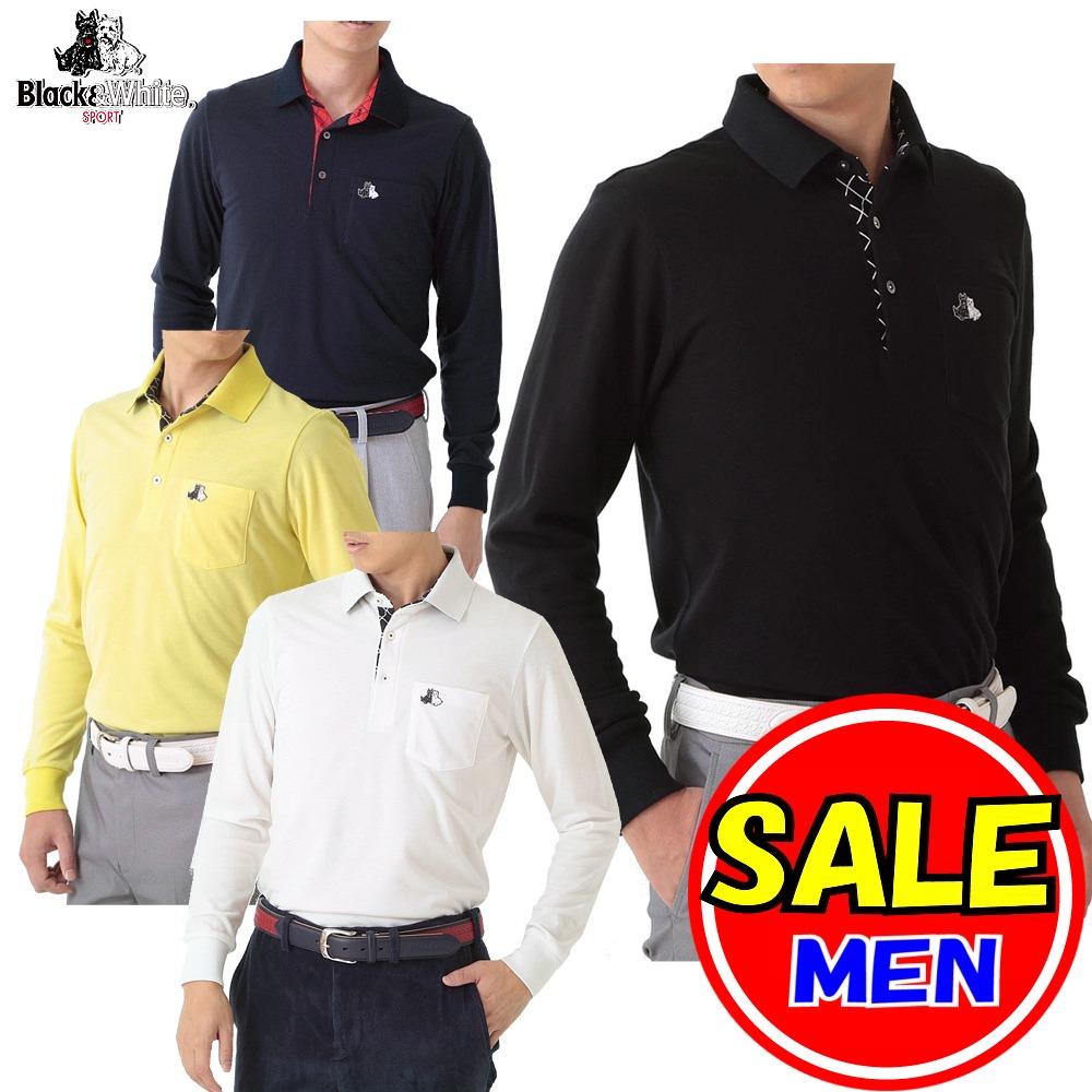 【40%OFF!セール】ブラック&ホワイト / ブラック アンド ホワイト(秋冬モデル!)長袖シャツ / ポロシャツ / 吸湿発熱 / 裏起毛(メンズ)ゴルフウェア