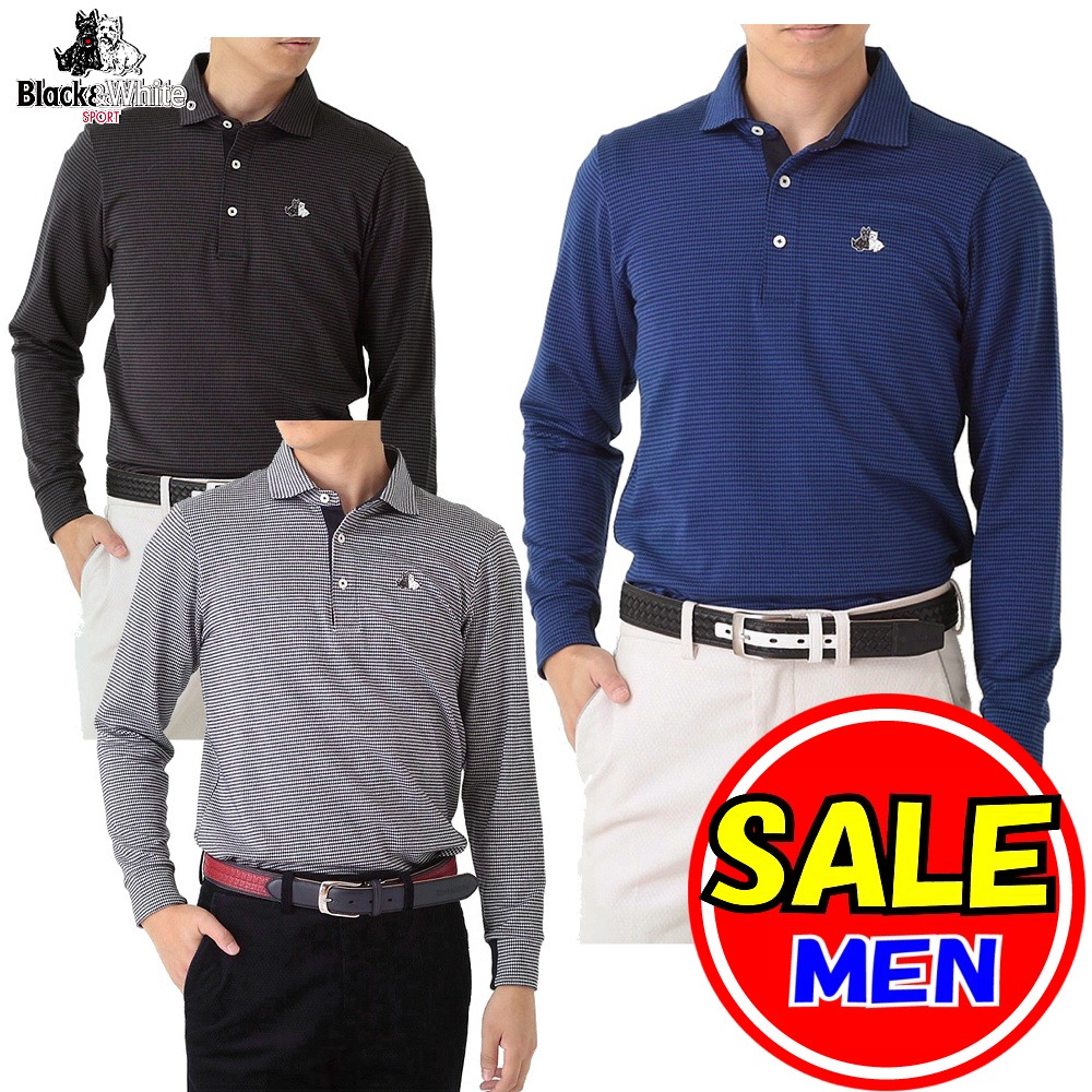 【40%OFF!セール】ブラック&ホワイト / ブラック アンド ホワイト(秋冬モデル!)長袖シャツ / ワイドカラーポロシャツ(メンズ)ゴルフウェア