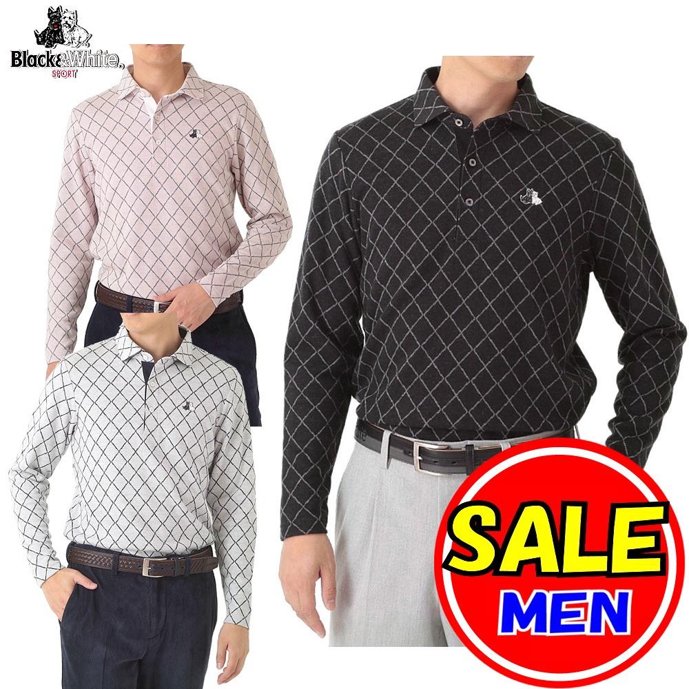 【40%OFF!セール】ブラック&ホワイト / ブラック アンド ホワイト(秋冬モデル!)長袖シャツ / ポロシャツ / 吸湿発熱 (メンズ)ゴルフウェア