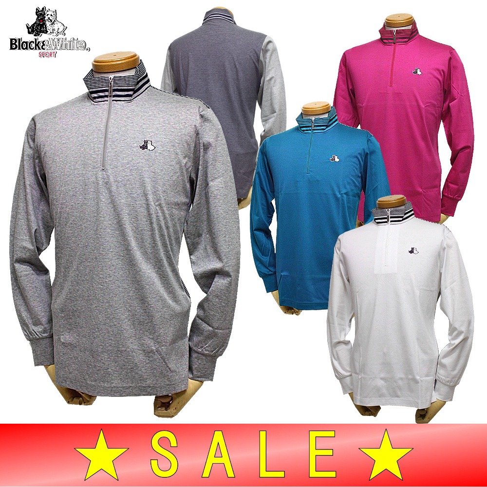 【40%OFF!セール】ブラック&ホワイト / ブラック アンド ホワイト(秋冬モデル!)ジップアップシャツ/ハイネック長袖シャツ(メンズ)ゴルフウェア
