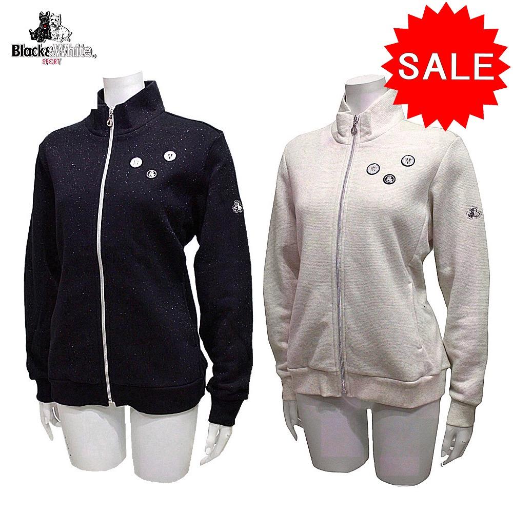 【40%OFF!セール】ブラック&ホワイト / ブラック アンド ホワイト/秋冬モデル!ジップアップブルゾン (レディース)ゴルフウェア