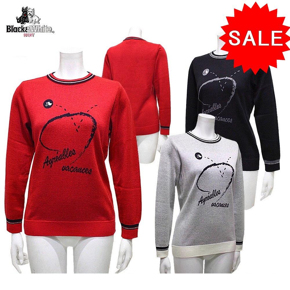 【50%OFF!セール】ブラック&ホワイト / ブラック アンド ホワイト/秋冬モデル!セーター / クルーネックセーター(レディース)ゴルフウェア