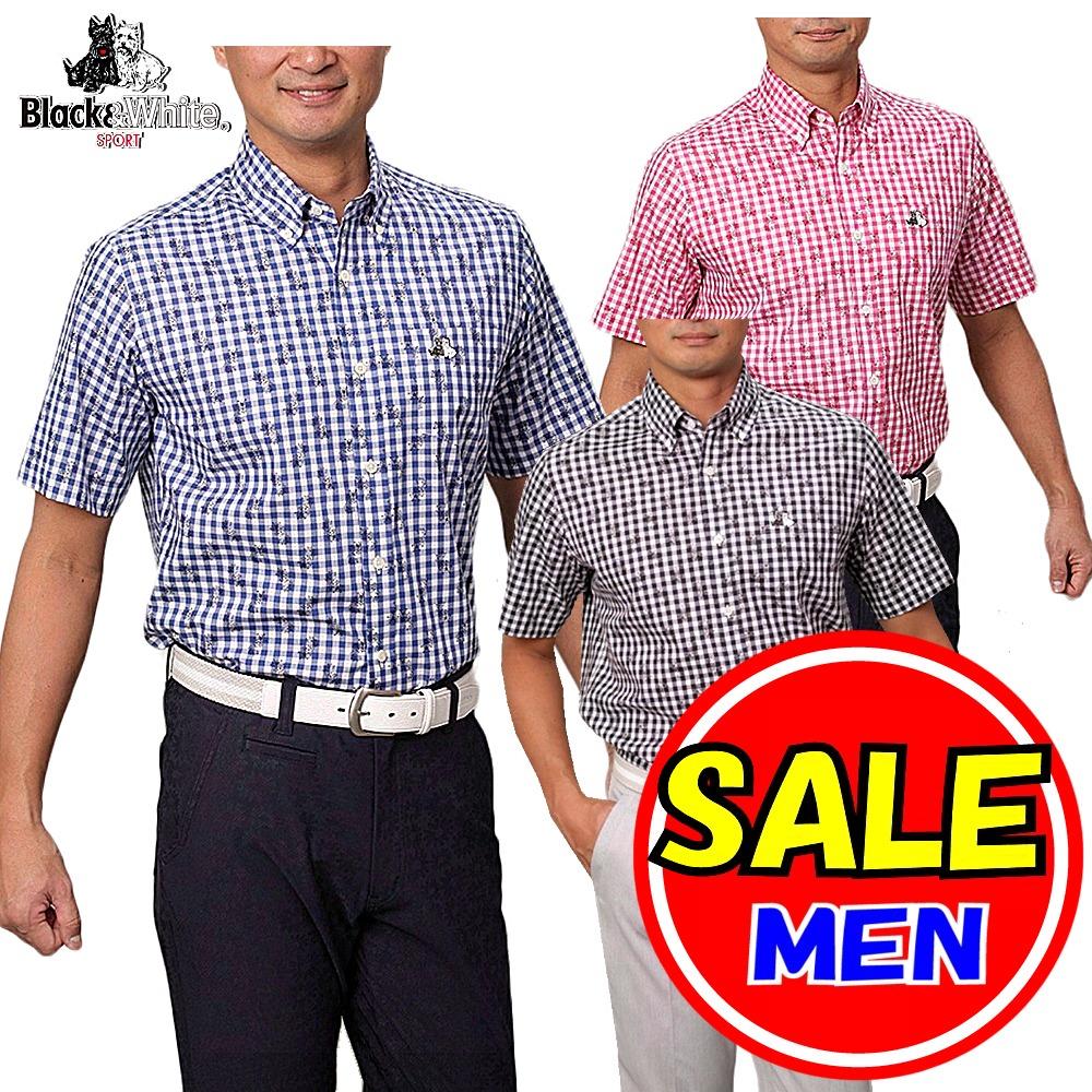 【40%OFF!セール】ブラック&ホワイト / ブラック アンド ホワイト(春夏モデル!)半袖 シャツ/ボタンダウンシャツ(メンズ)ゴルフウェア/レターパック選択可!