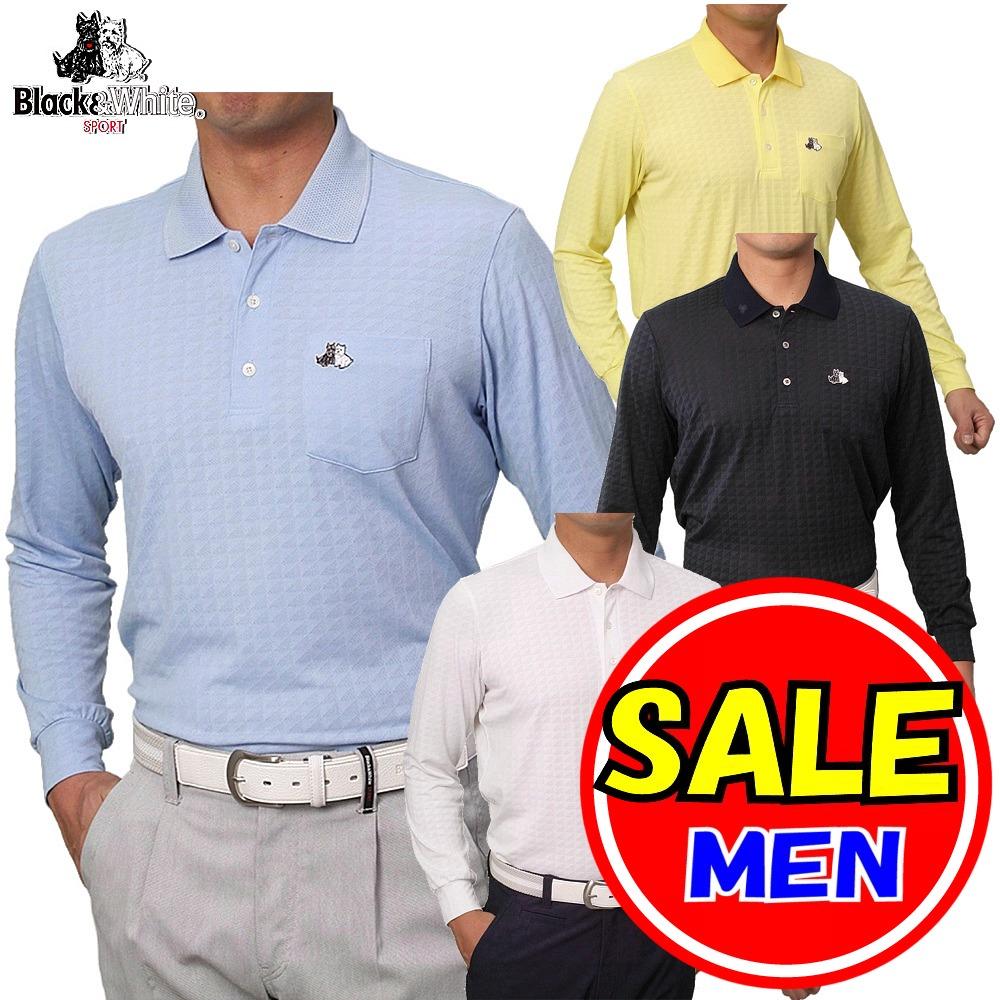 【40%OFF!セール】ブラック&ホワイト / ブラック アンド ホワイト(春夏モデル!)メッシュ 長袖ポロシャツ(メンズ)ゴルフウェア/レターパック選択可!