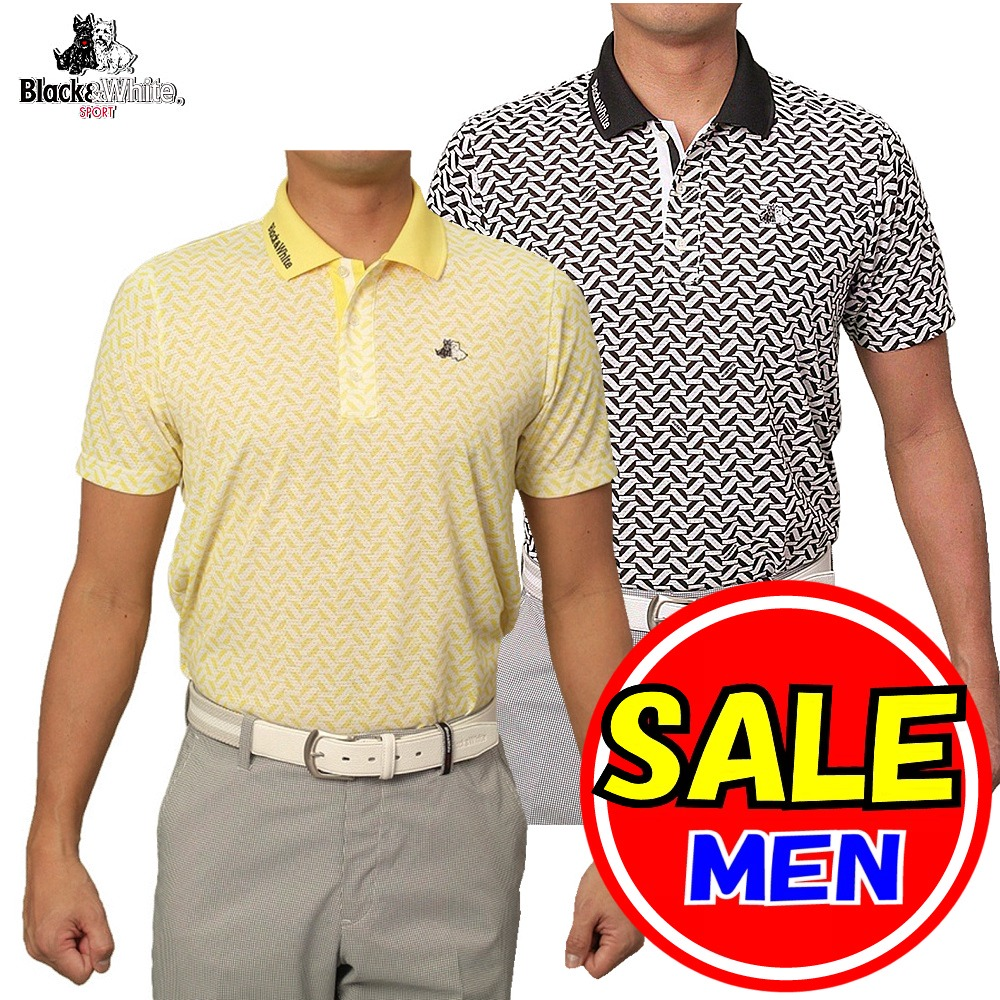 【50%OFF!セール】ブラック&ホワイト / ブラック アンド ホワイト(春夏モデル!)半袖 シャツ/ポロシャツ/メッシュ(メンズ)ゴルフウェア/レターパック選択可!