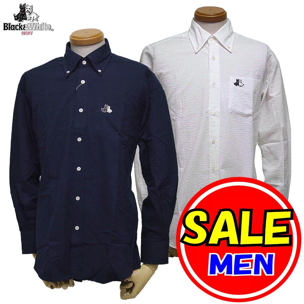 【40%OFF!セール】ブラック&ホワイト / ブラック アンド ホワイト(春夏モデル!)長袖ボタンダウンシャツ(メンズ)ゴルフウェア/レターパック選択可!