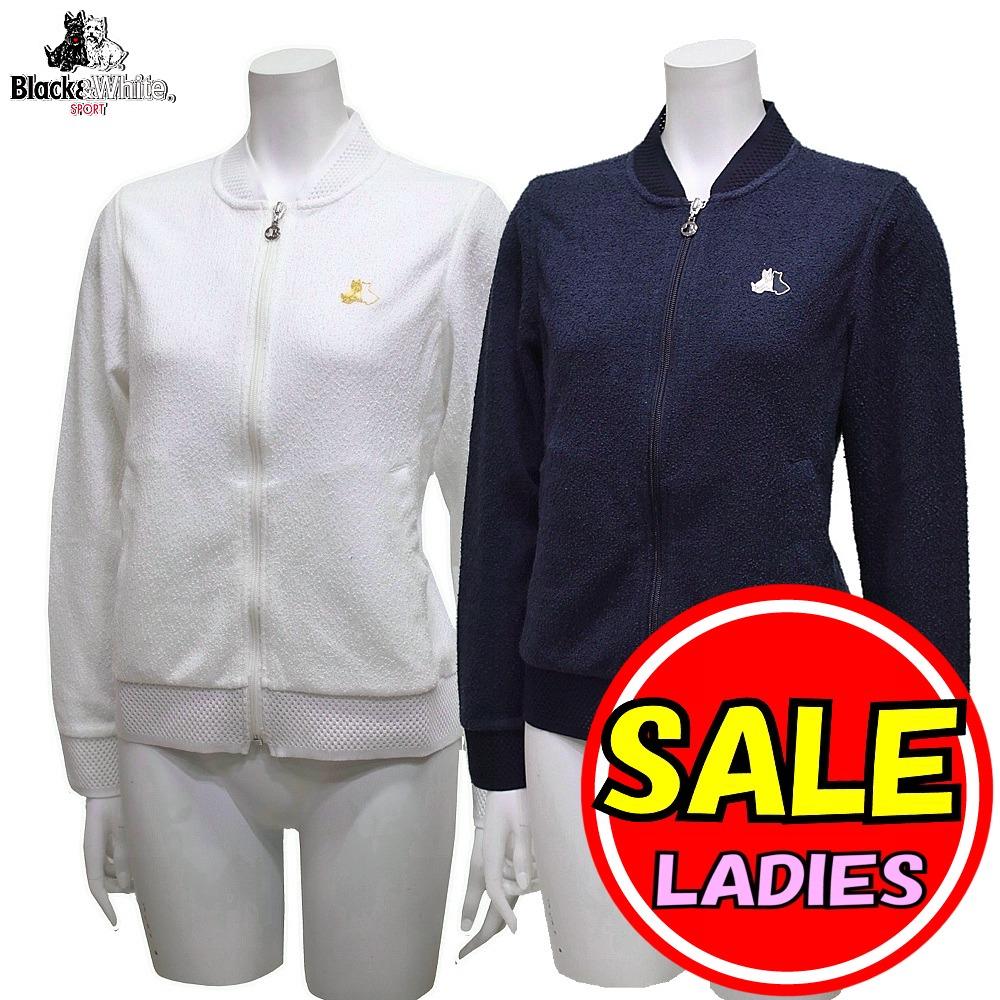 【50%OFF!セール】ブラック&ホワイト / ブラック アンド ホワイト/春夏モデル!ジップアップブルゾン (レディース)ゴルフウェア
