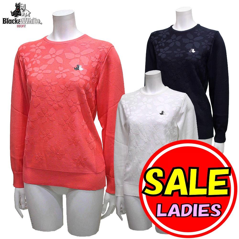 【50%OFF!セール】ブラック&ホワイト / ブラック アンド ホワイト/春モデル!花柄セーター / クルーネックセーター(レディース)ゴルフウェア