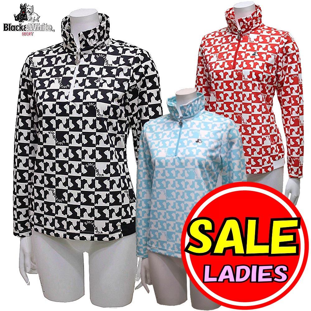 【40%OFF!セール】ブラック&ホワイト / ブラック アンド ホワイト/春夏モデル!長袖シャツ/ハイネックジップアップ(レディース)ゴルフウェア