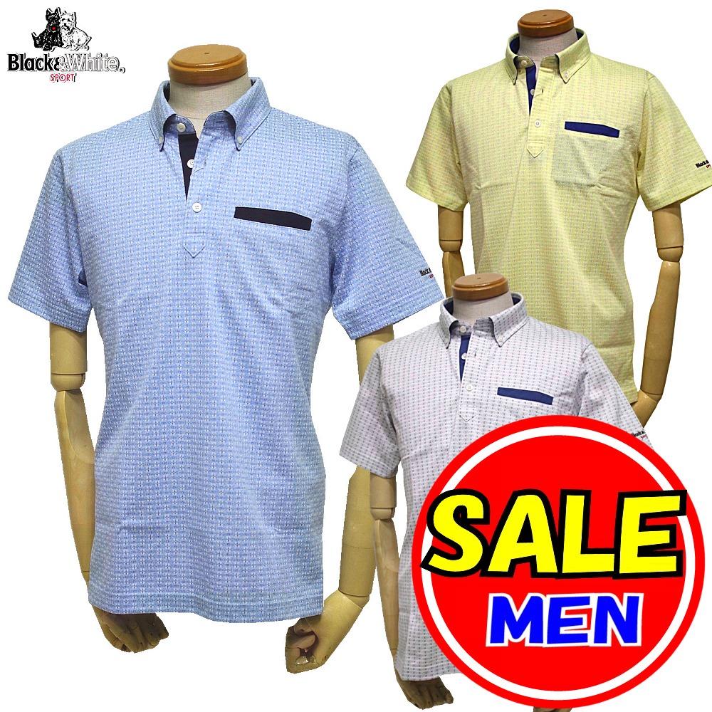 【最終セール!!】ブラック&ホワイト / ブラック アンド ホワイト(春夏モデル!)半袖ボタンダウンシャツ(メンズ)ゴルフウェア/レターパック選択可!