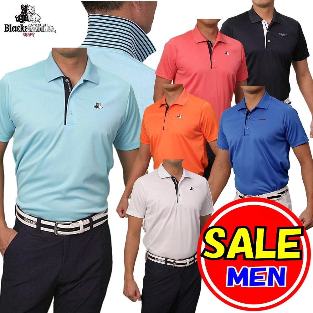【50%OFF!セール】ブラック&ホワイト / ブラック アンド ホワイト(春夏モデル!)半袖 シャツ/ポロシャツ(メンズ)ゴルフウェア/レターパック選択可!