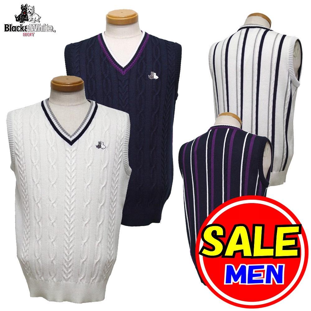 【50%OFF!セール】ブラック&ホワイト / ブラック アンド ホワイト(秋冬モデル!)ニットベスト(メンズ)ゴルフウェア/レターパック選択可!