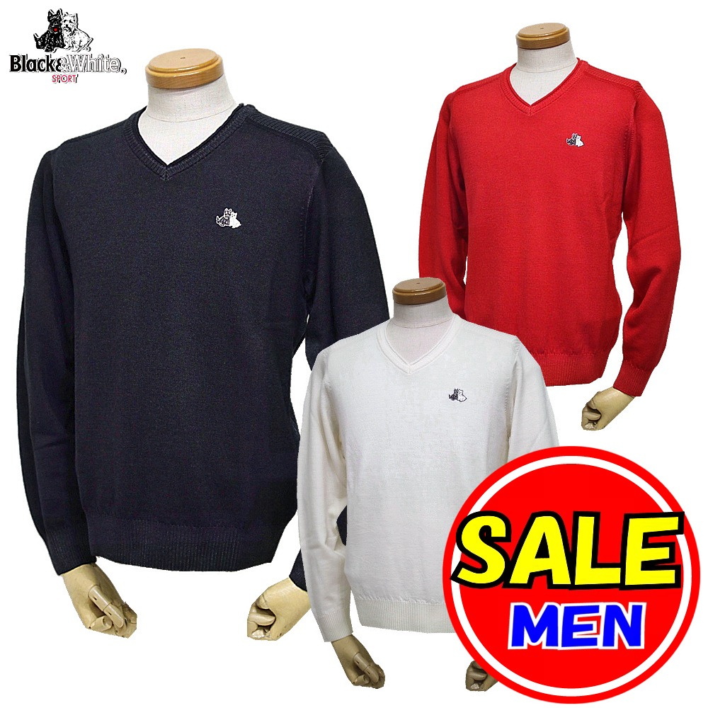 【50%OFF!セール】ブラック&ホワイト / ブラック アンド ホワイト/秋冬モデル!薄手セーター/Vネックセーター(メンズ)ゴルフウェア