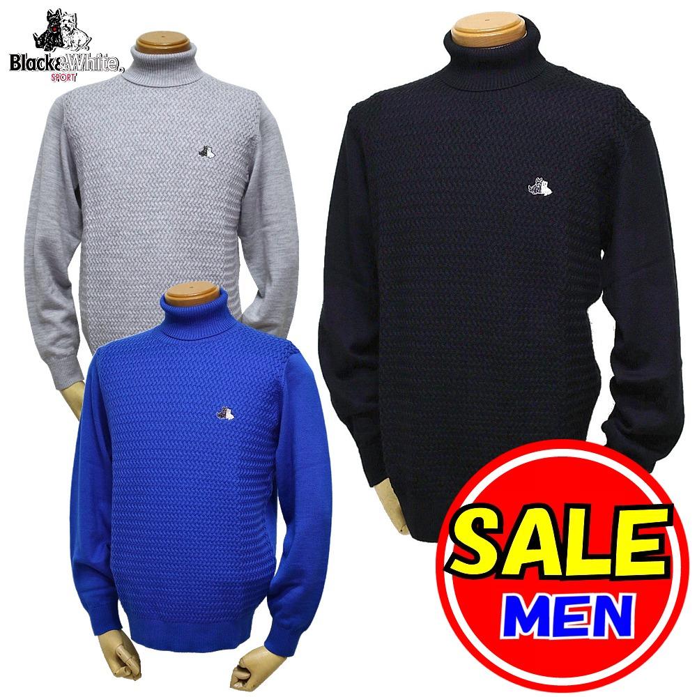 【50%OFF!セール】ブラック&ホワイト / ブラック アンド ホワイト/秋冬モデル!タートルネックセーター(メンズ)ゴルフウェア