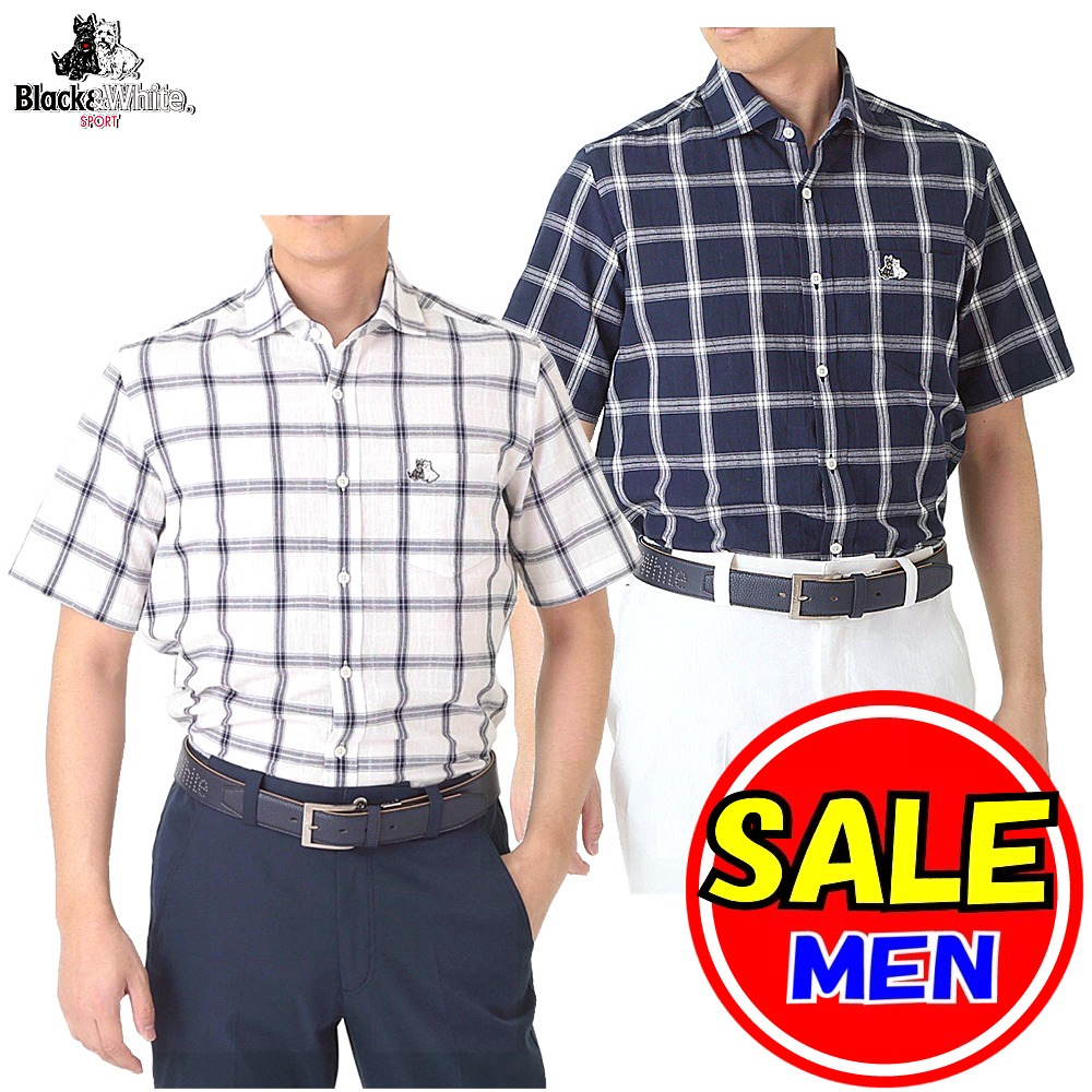 【50%OFF!セール】ブラック&ホワイト / ブラック アンド ホワイト(春夏モデル!)半袖チェックシャツ/(メンズ)ゴルフウェア/レターパック選択可!
