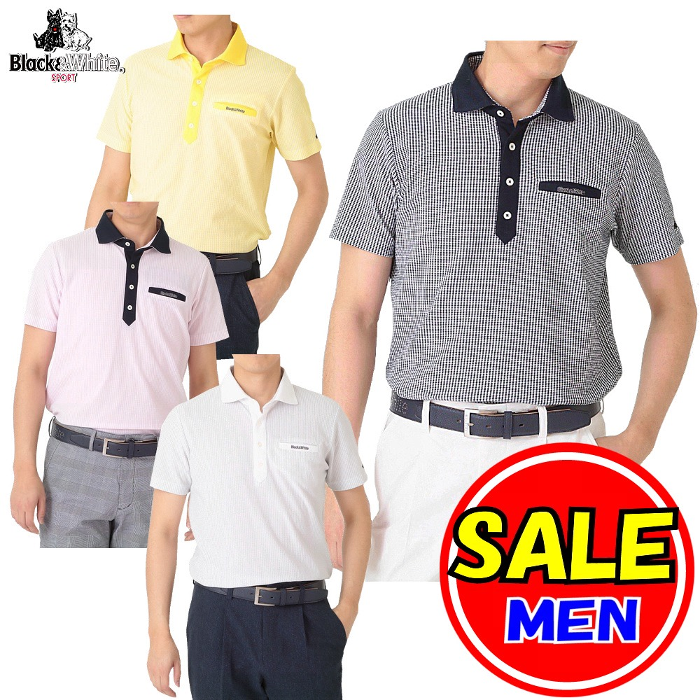 【50%OFF!セール】ブラック&ホワイト / ブラック アンド ホワイト(春夏モデル!)半袖シャツ/ミニダイヤ柄 /吸水速乾・UV(メンズ)ゴルフウェア/レターパック選択可!