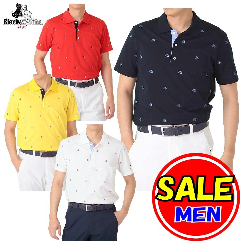 【40%OFF!セール】ブラック&ホワイト / ブラック アンド ホワイト(春夏モデル!)半袖シャツ/テリア刺繍 /快適ドライ(メンズ)ゴルフウェア/レターパック選択可!