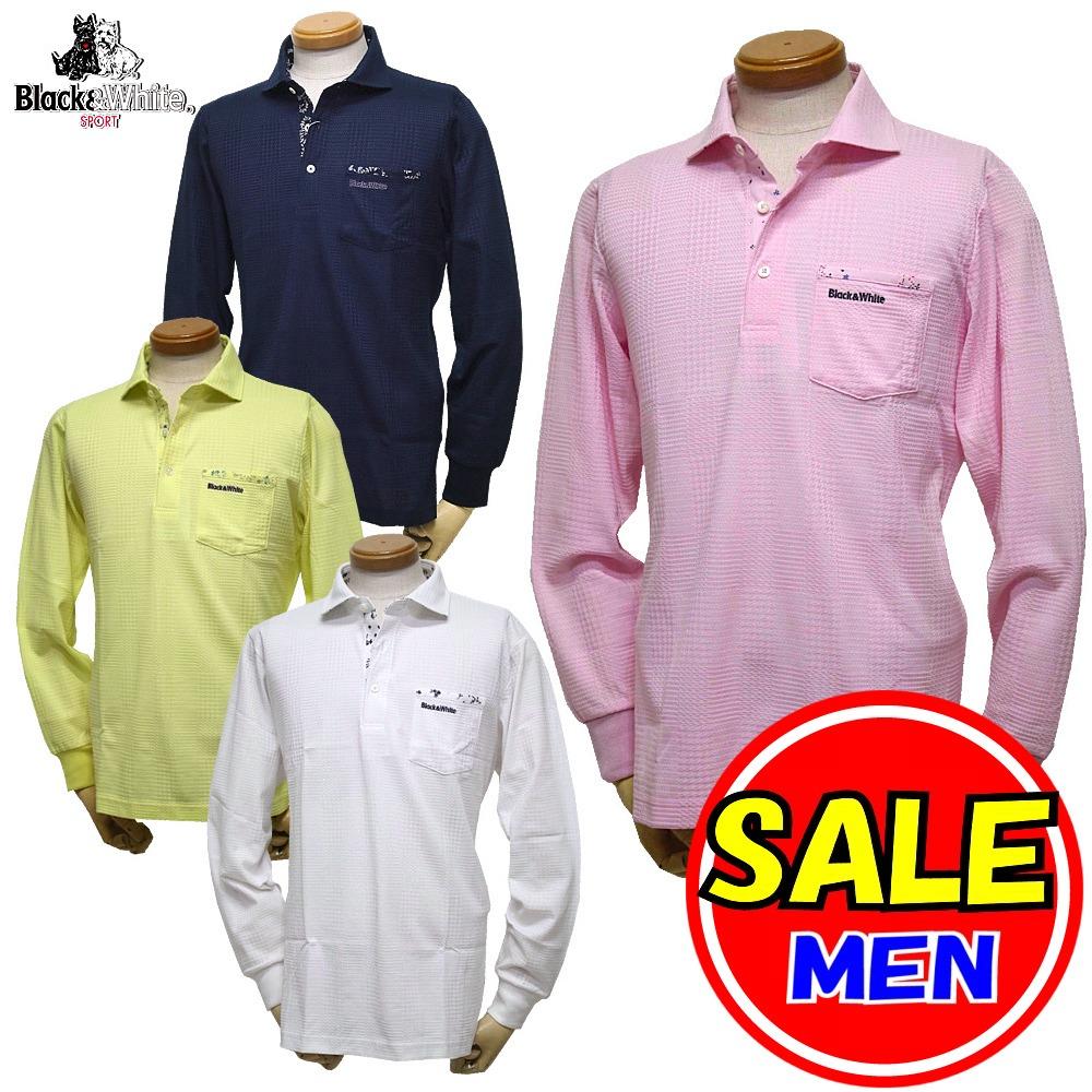 【50%OFF!セール】ブラック&ホワイト / ブラック アンド ホワイト(春夏モデル!)長袖シャツ/UV(メンズ)ゴルフウェア/レターパック選択可!