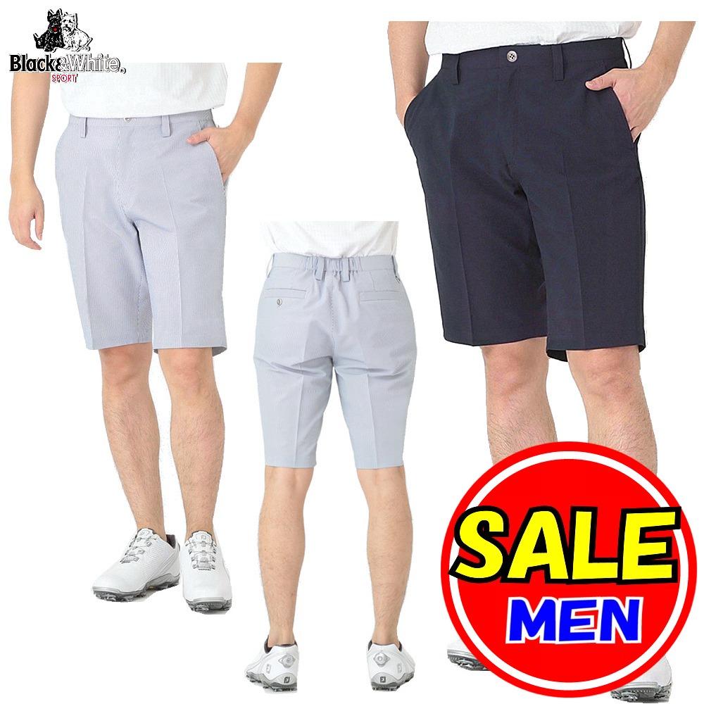 【50%OFF!セール】ブラック&ホワイト / Black&White / 春夏モデル / ショートパンツ/コードレーン素材 (メンズ) ブラック&ホワイト / ゴルフウェア