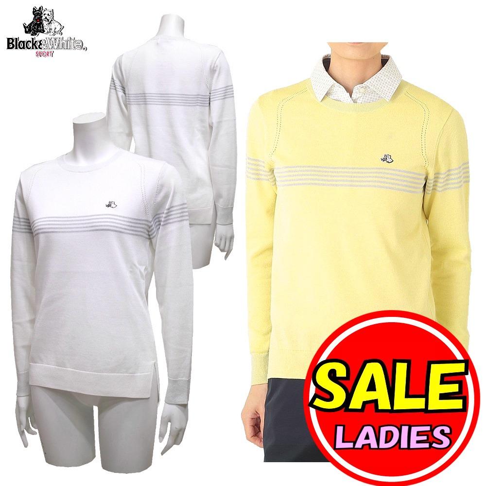 【50%OFF!セール】ブラック&ホワイト / ブラック アンド ホワイト/春夏モデル!/サマーニット/薄手 セーター(レディース)ゴルフウェア