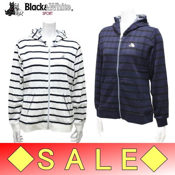 【50%OFF!セール】ブラック&ホワイト / ブラック アンド ホワイト/春夏モデル!/ボーダーパーカー(レディース)ゴルフウェア/18K