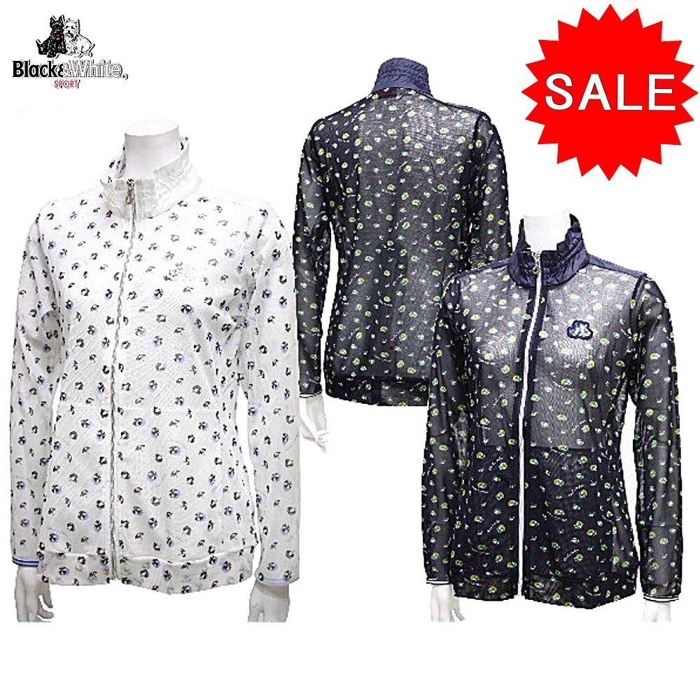 【50%OFF!セール】ブラック&ホワイト / ブラック アンド ホワイト/春夏モデル!/メッシュジャケット/ストレッチ(レディース)ゴルフウェア/17