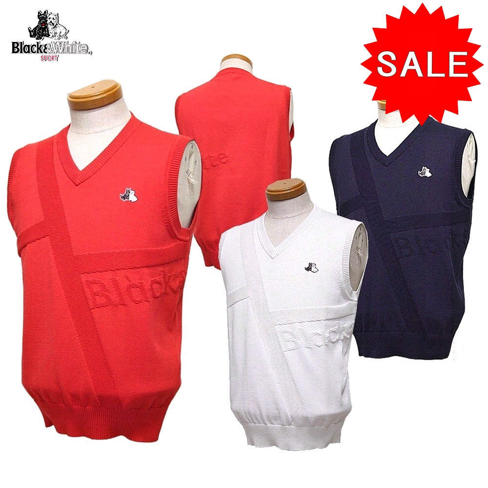 【50%OFF!セール】ブラック&ホワイト / ブラック アンド ホワイト(春夏モデル!)ニットベスト(メンズ)ゴルフウェア/レターパック選択可!