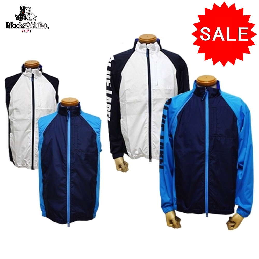 【50%OFF!セール】ブラック&ホワイト / ブラック アンド ホワイト/春夏モデル!2wayブルゾン(メンズ)ゴルフウェア/ブレーカー