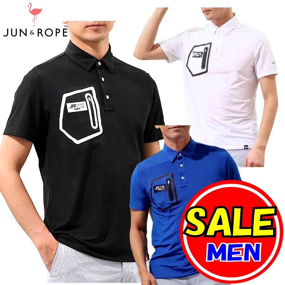【最終セール!】ジュン&ロペ/ジュンアンドロペ/JUN&ROPE ジュンロペ(春夏モデル!)ポケットZip使い 半袖ポロシャツ /吸水速乾・UV (メンズ)ゴルフウェア