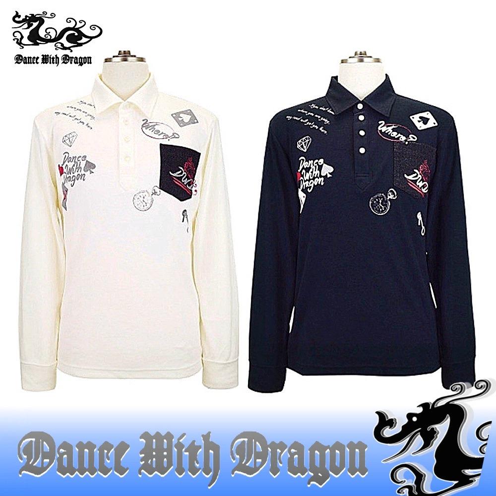 ダンスウィズドラゴン / DANCE WITH DRAGON (秋冬モデル!)ヒートチャージスムースポロ/長袖シャツ(メンズ)ダンスウィズドラゴン/送料無料!ゴルフウェア ダンス ウィズ ドラゴン/15