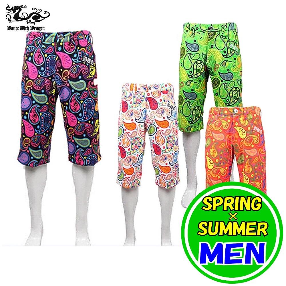 ダンスウィズドラゴン / DANCE WITH DRAGON 春夏モデル!ペイズリープリントショートパンツ(メンズ) ゴルフウェア/メンズウェア