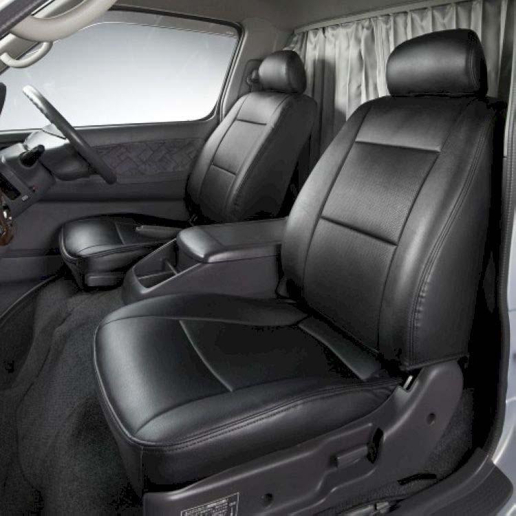 フロントシートカバー デュトロ 1型ワイドキャブ 300~500系 JA1104 ヘッドレスト一体型助手席・中央席背もたれ一体タイプ 日野|シートカバー ヘッドレスト トラック hino ヒノ ミニキャブ トラック用品 アトレーワゴン カスタム カーシートカバー キャラバン 車