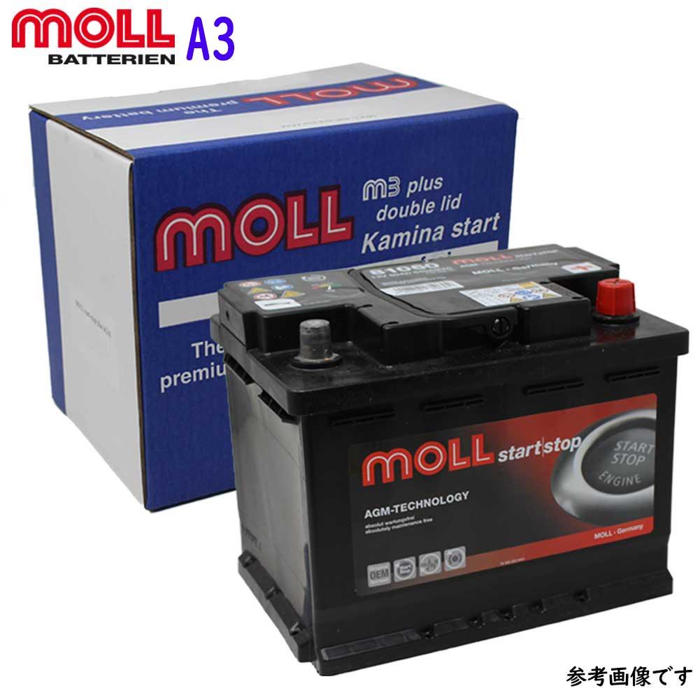 MOLL M3 plus バッテリー アウディ A3 型式GF-8LAQAF 用 LN2 | 送料無料(一部地域を除く) MOLL モル メンテナンスフリー 車用 輸入車用 バッテリー交換 バッテリー上がり カーバッテリー カー メンテナンス 整備 自動車 車用品 カー用品 交換用