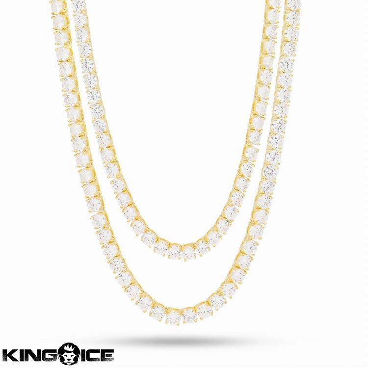 King Ice キングアイス ネックレス ゴールド テニスチェーン VVS ダイヤモンド ストーン セット商品