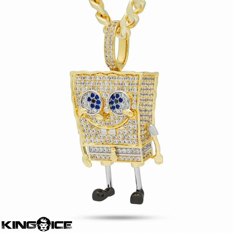 King Ice×SpongeBob SquarePants キングアイス スポンジ・ボブ ネックレス ゴールド ジルコニア ホワイトストーン