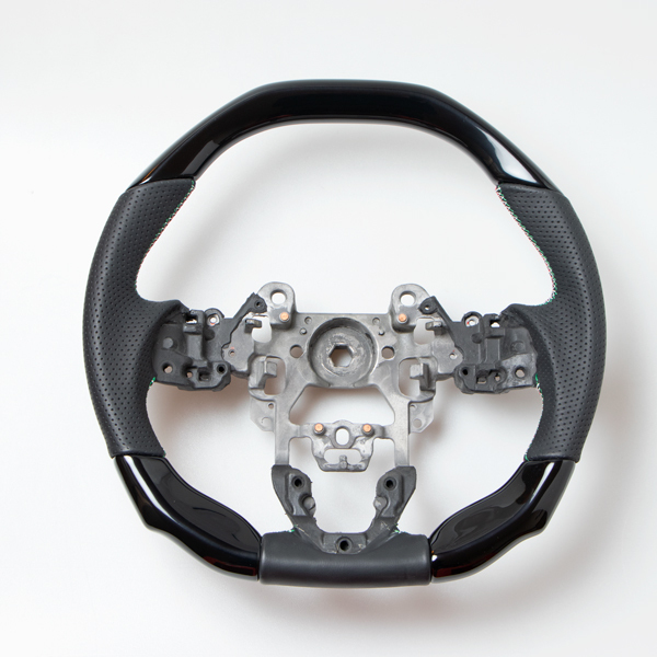 CX-5 CX-3 アクセラ デミオ コンビハンドル コンビステアリング ガングリップ ピアノブラックX黒本革 イタリアンデザイン 新品 SALE開催中