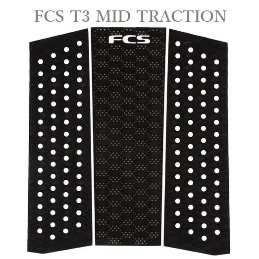 送料無料 日本正規品 2021年モデル FCS T3 MID TRACTION デッキパッド 黒 サーフィン フロントデッキ FRONT 男女兼用 ランキングTOP10 ブラック