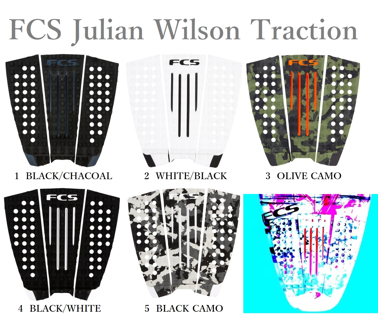 送料無料 2021年モデル FCS JULIAN WILSON アウトレットセール 特集 TRACTION ジュリアン 付与 エフシーエス トラクション ウィルソン デッキパッド サーフィン