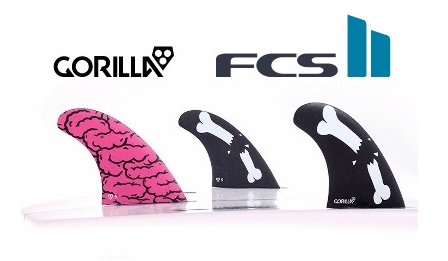 FCS2★GORILLA FIN Brains Bones Bars Small Tri Set 3FIN FCS2 トライ スラスター サーフィン ショートボード用フィン